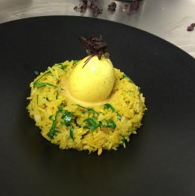 Kedgeree Basmati with Smoked Haddock, Soft Boiled Legbar Egg and Curry Sauce img