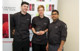 Image of Mövenpick's winner Louise Jayne Rigden with Zac Dearden and Biju Joshwa