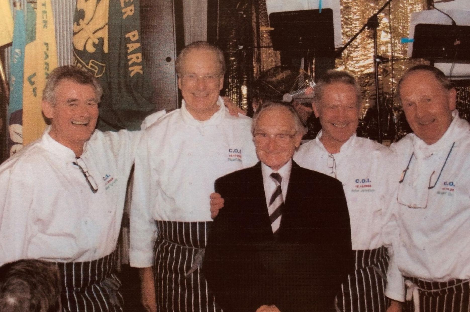 Ron with some of his former students who cooked for him at the 75th anniversary of 4th Worcester Park Scout Group in 2008.